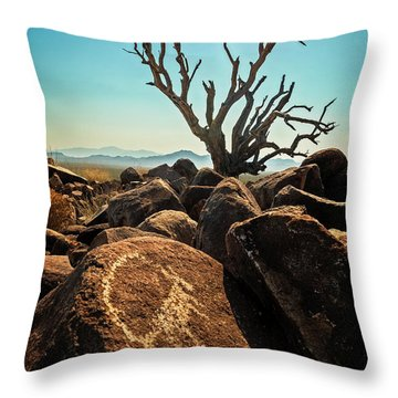 Pack Mule Petroglyph Throw Pillow
