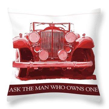 Packard Ask The Man Red Throw Pillow