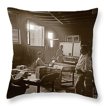 Throw Pillow featuring the photograph Packing Cigars Key West Florida by John Stephens