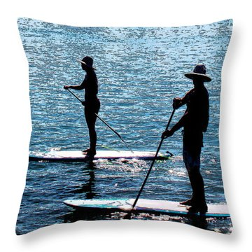 Paddle Boarding In The Marina Throw Pillow by Susan Vineyard