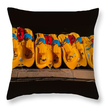 Paddle-boat Armada Throw Pillow