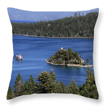 Paddle Boat Emerald Bay Lake Tahoe California Throw Pillow