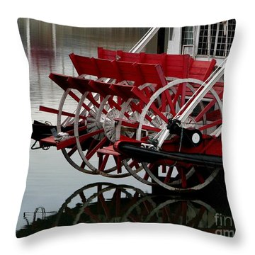 Paddle Boat On The Ohio Throw Pillow by Misha Bean
