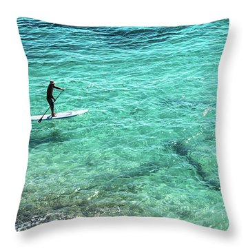 Paddle The Aqua Sea Throw Pillow