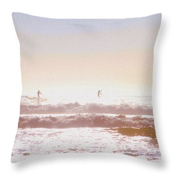 Paddleboarders Throw Pillow