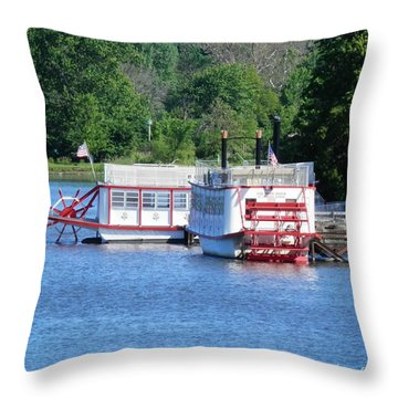 Paddleboat On The River Throw Pillow