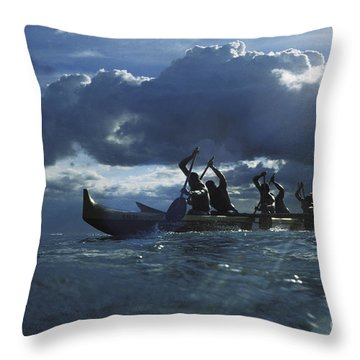 Paddlers At Sunset Throw Pillow by Bob Abraham - Printscapes