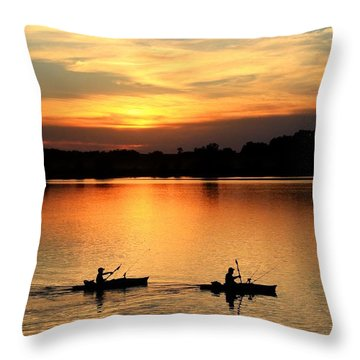 Paddling Back To Camp Throw Pillow