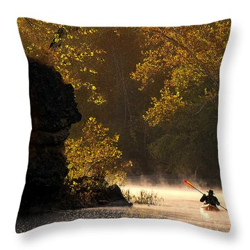 Paddling In Autumn Throw Pillow