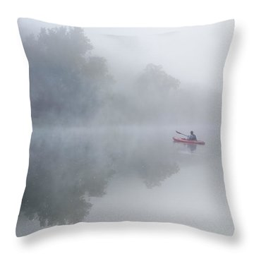 Paddling In The White Throw Pillow by Robert Charity