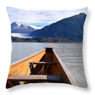 Paddling On Mendenhall Lake Throw Pillow