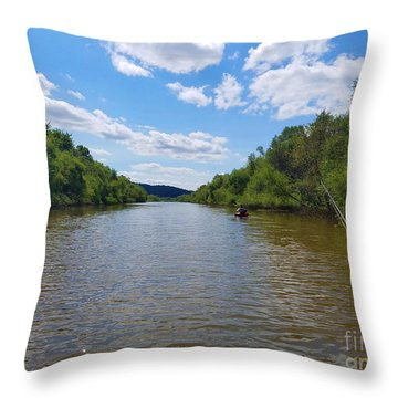 Paddling Up Crooked Creek Throw Pillow