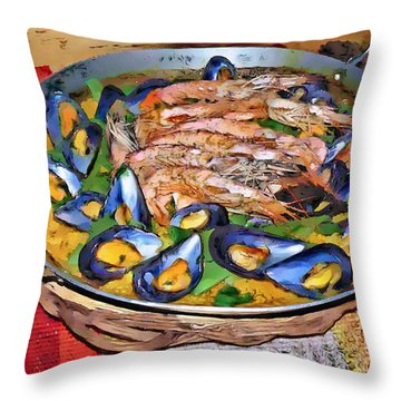 Paella Throw Pillow by Dee Flouton