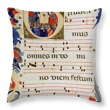 Page Of Musical Notation With A Historiated Letter G Throw Pillow