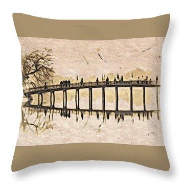 Pagoda Bridge Throw Pillow