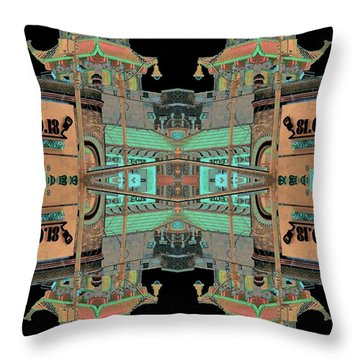 Pagoda Tower Becomes Chinese Lantern 1 Chinatown Chicago Throw Pillow by Marianne Dow