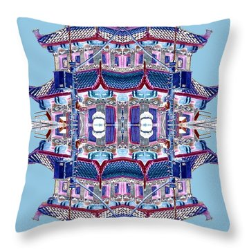 Throw Pillow featuring the photograph Pagoda Tower Becomes Chinese Lantern 2 Chinatown Chicago by Marianne Dow