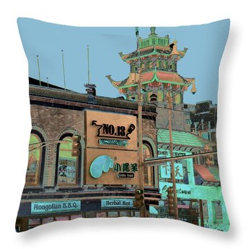Throw Pillow featuring the photograph Pagoda Tower Chinatown Chicago by Marianne Dow