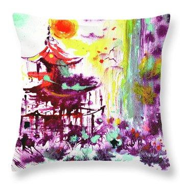 Throw Pillow featuring the painting Pagoda by Zaira Dzhaubaeva