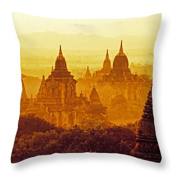 Throw Pillow featuring the photograph Pagodas by Dennis Cox WorldViews