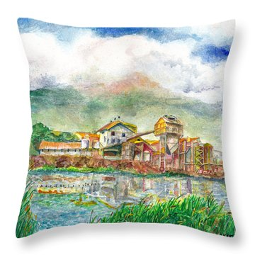 Throw Pillow featuring the painting Paia Mill 1 by Eric Samuelson
