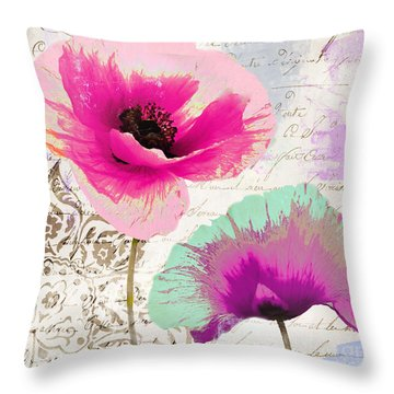 Paint And Poppies II Throw Pillow