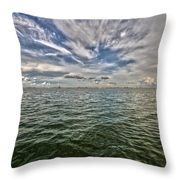 Paint Brush Sky - Ft Myers Beach Throw Pillow by Christopher L Thomley