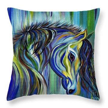 Paint Native American Horse Throw Pillow