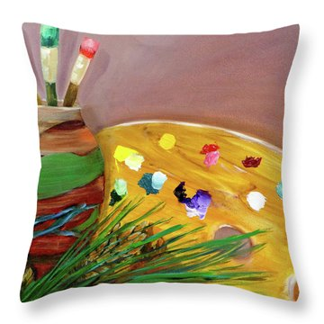 Paint On My Palette Throw Pillow