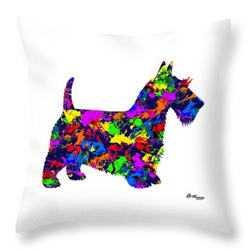 Paint Splatter Scottish Terrier Throw Pillow