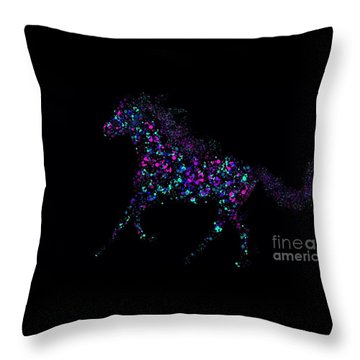 Throw Pillow featuring the painting Paint Splattered Pony by Nick Gustafson