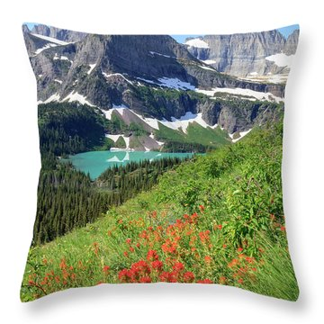 Paintbrush Above Grinnell Lake Throw Pillow