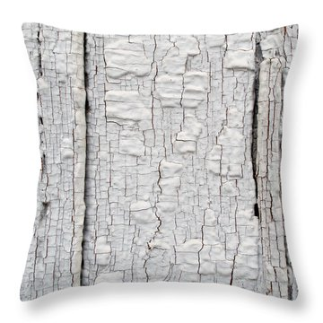 Throw Pillow featuring the photograph Painted Aged Wood by John Williams