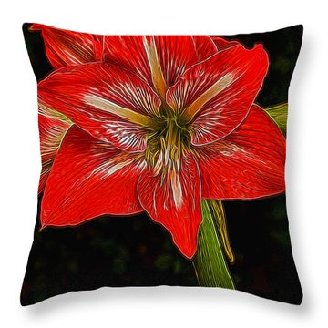 Painted Amaryllis Throw Pillow