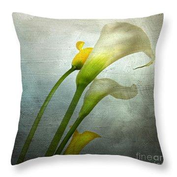 Painted Arum Throw Pillow by Bernard Jaubert