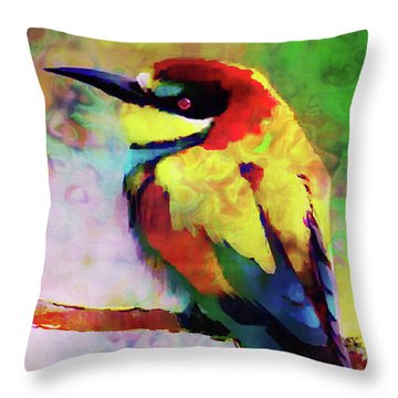 Painted Bee Eater Throw Pillow