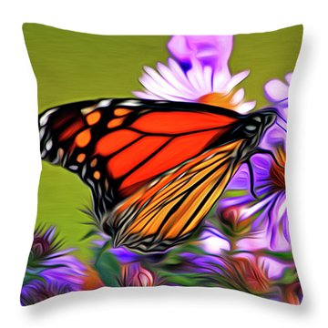 Painted Butterfly Throw Pillow by David Kehrli