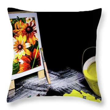 Painted Canvas Throw Pillow