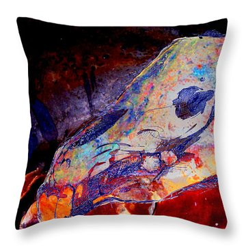 Painted Cave Skull Throw Pillow by Melinda Dare Benfield
