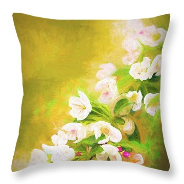 Painted Crabapple Blossoms In The Golden Evening Light Throw Pillow