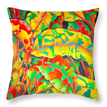 painted Crotons Throw Pillow by Daniel Jean-Baptiste