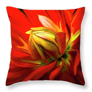 Painted Dahlia In Full Bloom Throw Pillow