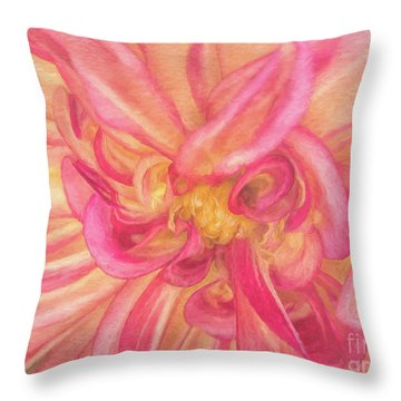 Painted Dahlia Throw Pillow