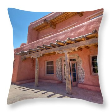 Painted Desert Inn Back Terrace Throw Pillow by Bob and Nancy Kendrick