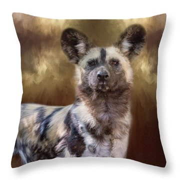 Painted Dog Portrait II Throw Pillow