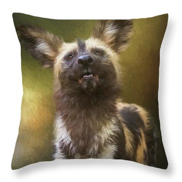Painted Dog Portrait Throw Pillow