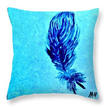 Painted Feather Throw Pillow by Marsha Heiken