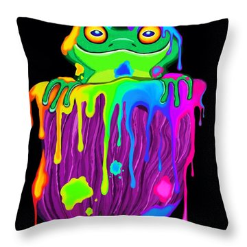 Painted Flower Frog  Throw Pillow