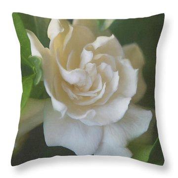 Painted Gardenia Blossom Throw Pillow