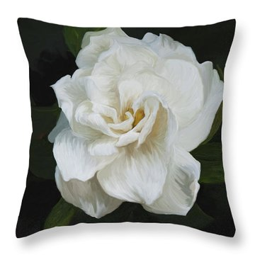 Throw Pillow featuring the photograph Painted Gardenia by Phyllis Denton